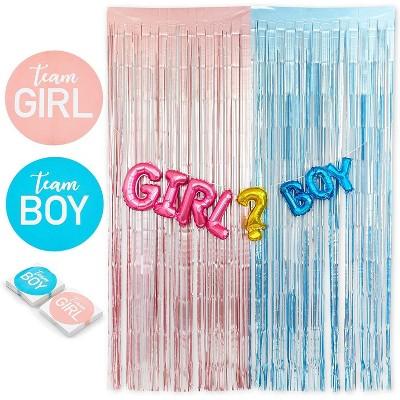 85pcs gender reveal party decorations set pink blue metallic fringe curtains tinsel backdrop balloons banner 80 team boy team girl voting game