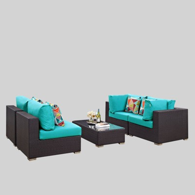 convene 5pc outdoor patio sectional set turquoise modway