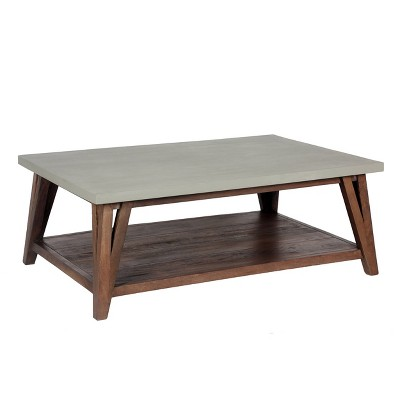 48 brookside coffee table concrete coated top and wood light gray brown alaterre furniture