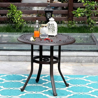 32 outdoor cast aluminum round dining table with frosted surface captiva designs