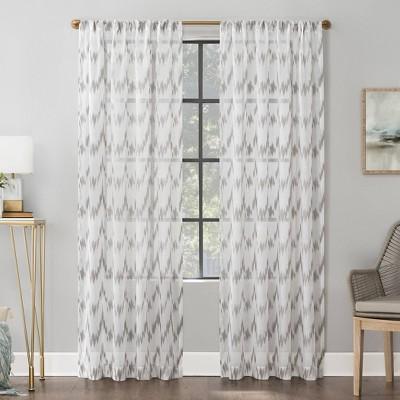 96 x52 santo ikat print textured sheer rod pocket curtain panel gray scott living