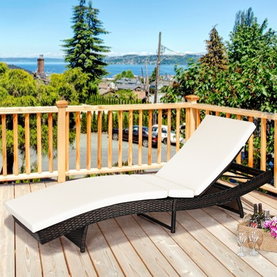 costway adjustable pool chaise lounge chair outdoor patio furniture pe wicker w cushion