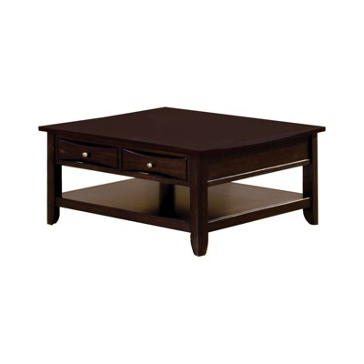 langen modern 2 drawer square cocktail table brown homes inside out