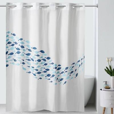 school of fish peva shower curtain white blue hookless