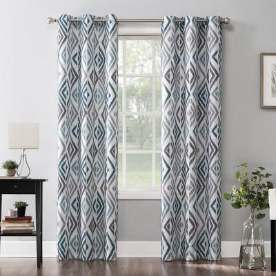 84 x40 hana ikat geometric semi sheer grommet curtain panel teal no 918