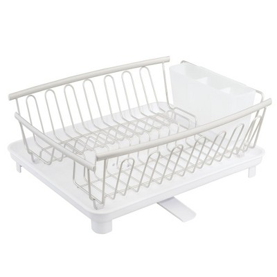mdesign large 3 piece kitchen counter dish drying rack drainboard satin white