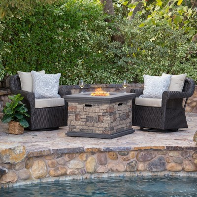 acadia 3pc wicker rocker and mgo gas firepit set dark brown christopher knight home
