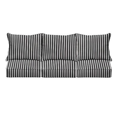 23 sunbrella stripe deep seat outdoor throw pillow and cushion set black white