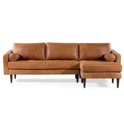 florence mid century modern right sectional sofa cognac tan poly bark