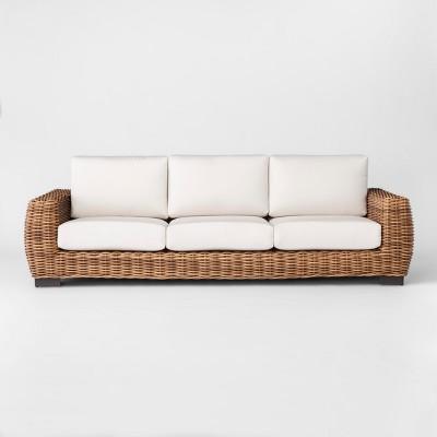 eldridge wicker patio sofa with sunbrella cushions brown white smith hawken