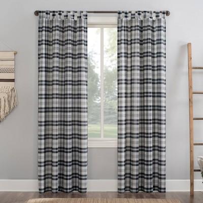 52 x84 blair farmhouse plaid semi sheer tab top curtain panel black no 918