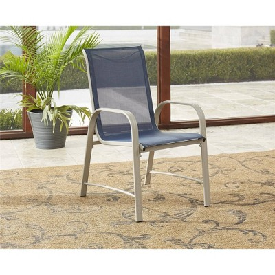 6pc paloma steel sling motion patio dining chairs blue gray room joy