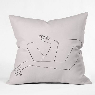 the colour study women s crossed arms figures square throw pillow pink deny designs