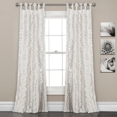 set of 2 84 x40 sophia ruffle window curtain panels white lush decor
