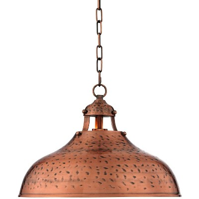 franklin iron works dyed copper pendant light 16 wide farmhouse industrial rustic hammered dome shade kitchen island dining room