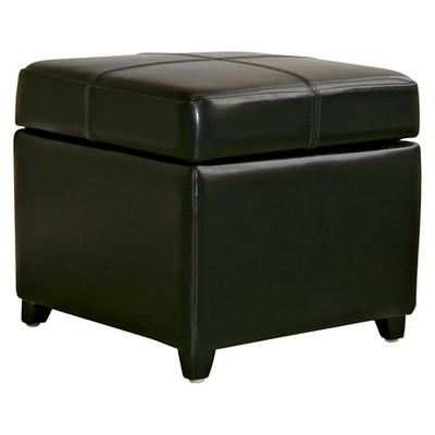 full leather storage cube ottoman black baxton studio