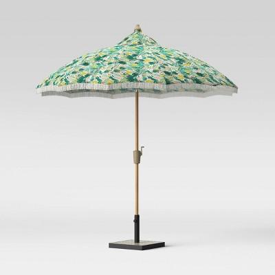 9 carousel shape patio umbrella duraseason fabric opal tropical with fringe white light wood pole opalhouse