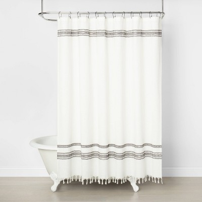 embroidered shower curtain railroad gray hearth hand with magnolia