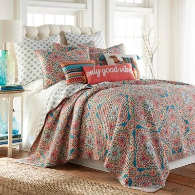 veranda medallion quilt set king quilt and two king pillow shams teal red orange levtex home