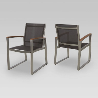 2pk glasgow mesh patio dining chairs gray christopher knight home