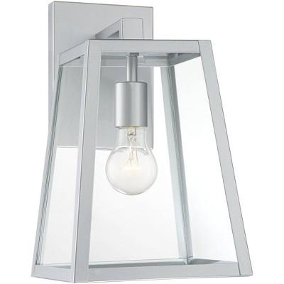 john timberland modern outdoor wall light fixture sleek silver steel 13 clear glass for exterior house porch patio deck