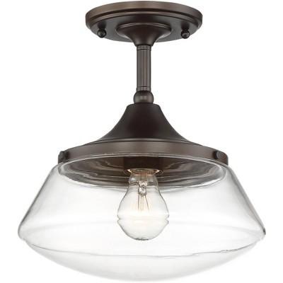 regency hill farmhouse ceiling light semi flush mount fixture bronze 10 1 2 wide clear glass for bedroom living room schoolhouse