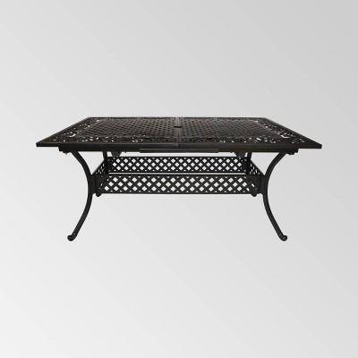 phoenix rectangle aluminum expandable patio dining table copper christopher knight home