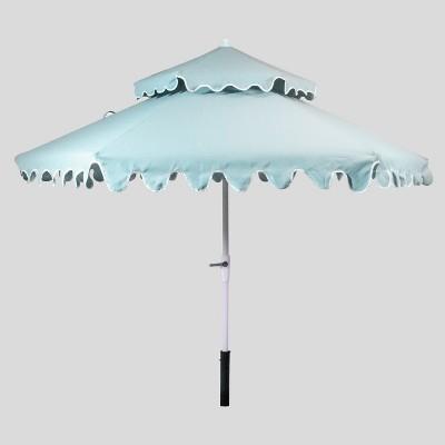 9 tiered scalloped canopy patio umbrella aqua white pole opalhouse