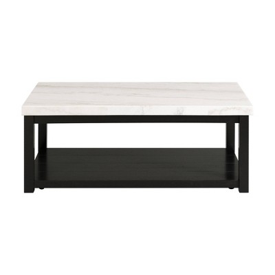 evie marble rectangle coffee table white picket house furnishings