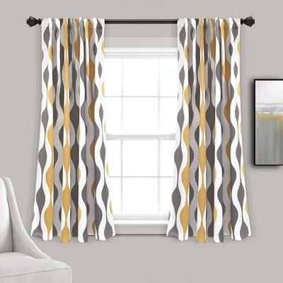 set of 2 108 x52 mid century geo room darkening window curtain panels gold gray lush decor
