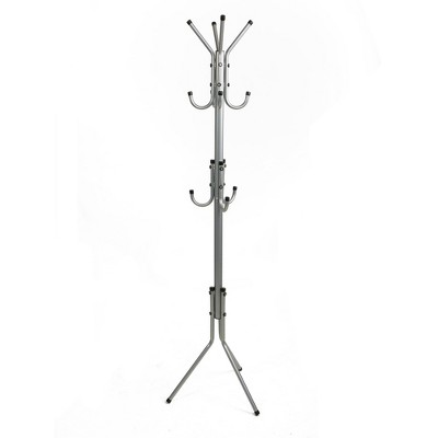 mind reader 3 tier standing coat rack 11 hooks silver