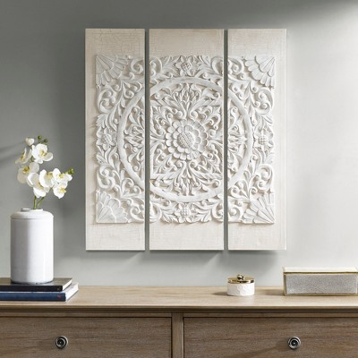 Wooden Mandala 3D Embellished Canvas 3pc Decorative Wall Art Set