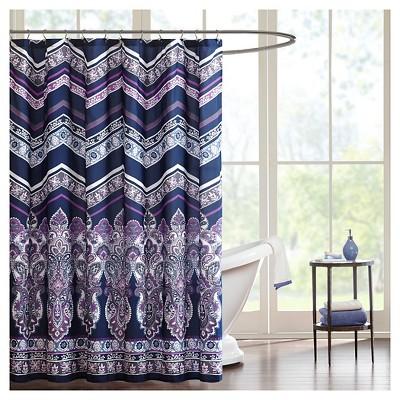 herringbone shower curtain purple