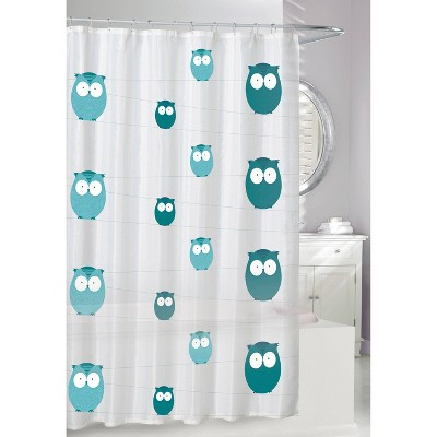 bright eyes shower curtain teal gray moda at home