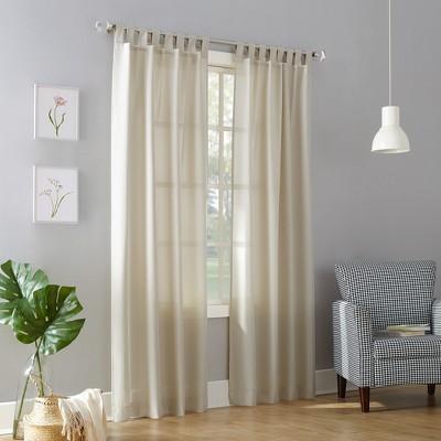63 x40 joshua heathered textured tab top semi sheer curtain panel off white no 918