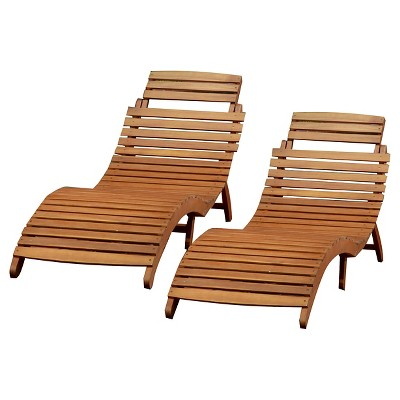 lahaina set of 2 acacia wood patio chaise lounge natural yellow christopher knight home