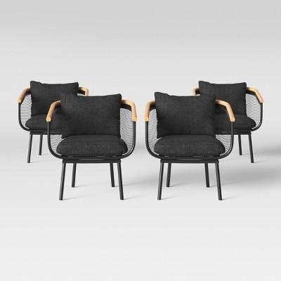 bangor 4pk patio dining chair black project 62