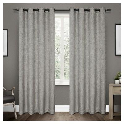 set of 2 108 x52 vesta heavy textured linen woven room darkening grommet top window curtain panel dark gray exclusive home