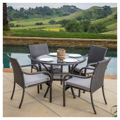 san pico 5pc wicker patio dining set with cushions gray christopher knight home
