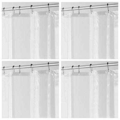mdesign waterproof peva shower curtain liner 3 gauge 72 x 72 4 pack clear