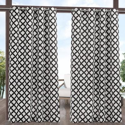 set of 2 108 x54 bamboo trellis indoor outdoor light filtering grommet top curtain panel black white exclusive home
