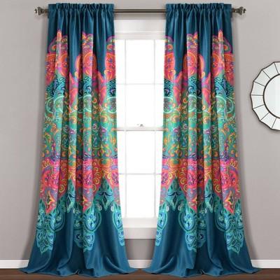 set of 2 84 x52 boho chic room darkening window curtain panels turquoise navy lush decor