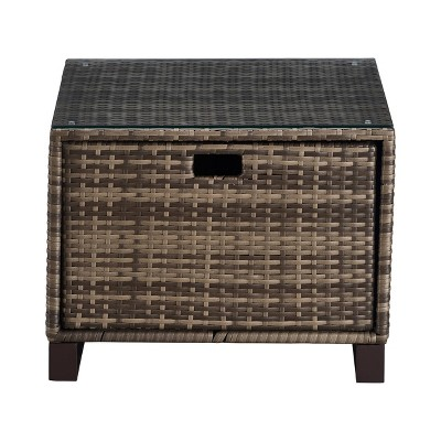 oceanside outdoor side table with storage gray wicker finch