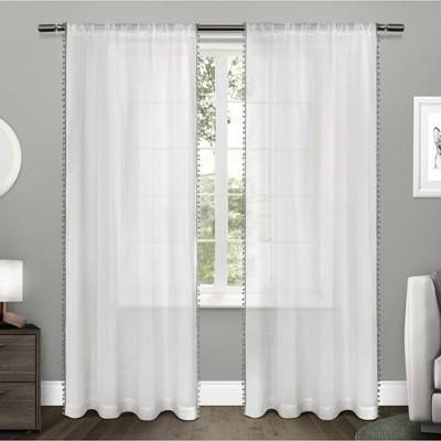 108 x54 pom pom rod pocket sheer window curtain panels black exclusive home