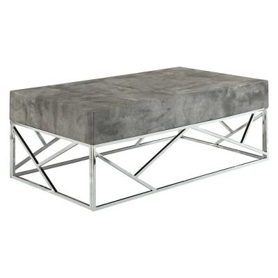 burgo coffee table faux marble chrome acme furniture