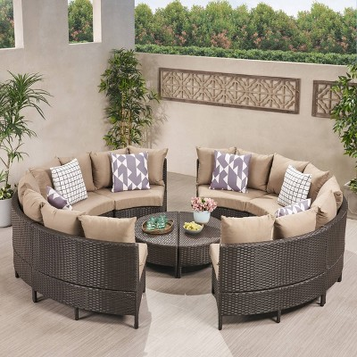 newton 10pc wicker patio lounge set dark brown with taupe cushions christopher knight home