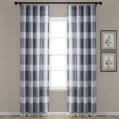 set of 2 95 x40 tucker stripe yarn dyed cotton knotted tassel light filtering window curtain panels navy white lush decor