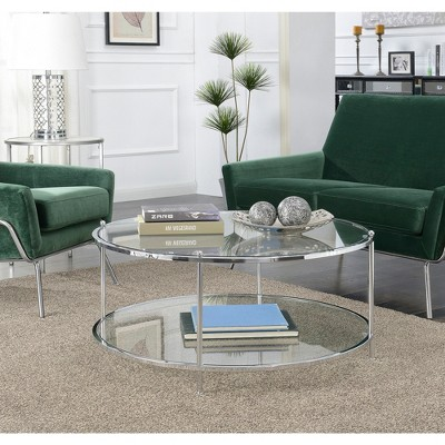 royal crest 2 tier round glass coffee table clear glass chrome frame breighton home