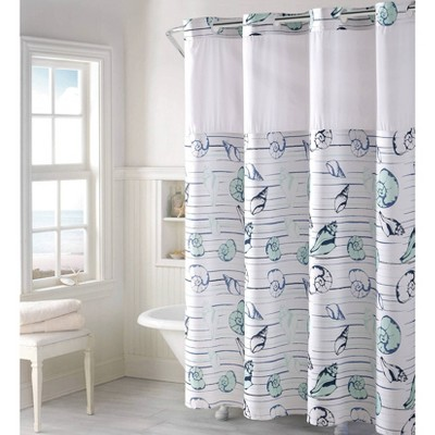 seashell shower curtain with liner aqua hookless
