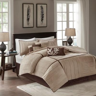 beige landcaster microsuede pleated comforter set queen 7pc